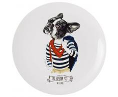 La Cija The Hipster Zoo Mr. Le Dog Plato Decorativo, Porcelana, Blanco y Negro, 24,8x24,8x2,6 cm