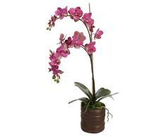 Shishi, Home de belleza orquídeas artificiales Plantas con 2 flores ramas en macetero de cerámica, morado, 75 cm