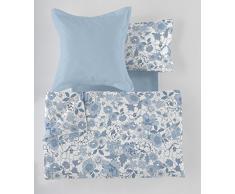 ES-Tela - Juego de Funda nórdica Estampada Erica (4 Piezas) - Color Azul - Cama de 105 cm. Incluye Funda(s) de cojín - 50% Algodón / 50% Poliéster - 144 Hilos