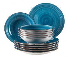 MÄSER Serie Bel Tempo - Juego de Platos (gres), gres, Azul Oscuro (Bel Tempo I), 6 x 2 Teile