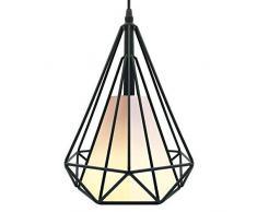 Homesbrand - Lámpara de techo colgante de metal con forma de candelabro industrial, estilo retro, para cesta de hierro dorado, negro, negro