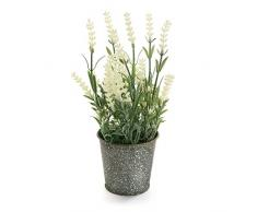 Versa 2118000 Planta Artificial Maceta Blanco Metal 9x9x24 cm