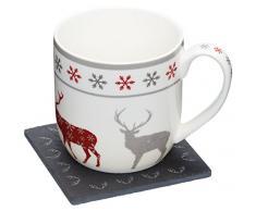 Kitchencraft we Love de Navidad diseño de reno novedad taza y Slate posavasos Set de regalo, multicolor