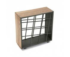 Versa 10850013 Botellero, 50x20x52cm, Madera y metal, 9 botellas, Guardabotellas