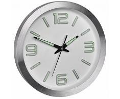 Tfa Dostmann - Aluminio radio reloj de pared fluorescente puntero del gato 60.3526.02