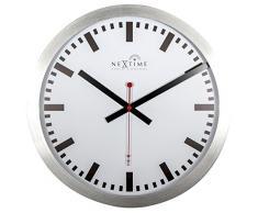 NeXtime Reloj de pared - Estación de trenes STATION RCC, muy silencioso, radiocontrolado, blanco, redondo, ø 35 cm