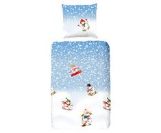 good morning 4790 de F 135 cm cama infantil Hombres de Nieve, Azul, 100% franela, 135 x 200 cm, franela, 200 x 135 x 0,5 cm