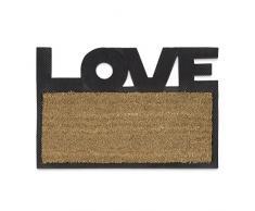 Relaxdays – Felpudo LOVE para la entrada del hogar, 40 x 60 cm, Fibra de coco y PVC, antideslizante, Color natural