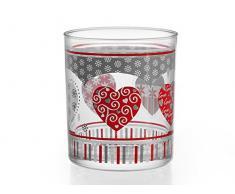 Home Vasos Agua de 220ML, diseño Love, Pack de 3Unidades, Cristal, Transparente/Multicolor