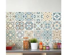 24 pegatinas adhesivos carrelages | adhesivo adhesivo azulejos – Mosaico Azulejos de pared de baño y cocina | azulejos adhesiva – Design authentiques – 10 x 10 cm – 24 piezas
