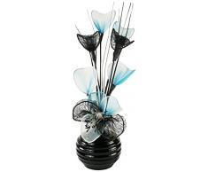 Flourish Creative Florals A juego Par de azul flores artificiales en florero negro, decoraciones de mesa, accesorios para el hogar, regalos, adornos, altura 32 cm