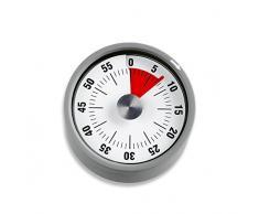 ADE Temporizador de Cocina TD1708. Timer Redondo magnético con Alarma. Plastico y aceró Inoxidable 6 cm Color Gris