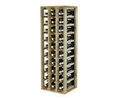 Expovinalia Botellero Especial con 3 módulos y Capacidad para 30 Unidades, Madera, Rustico, 36x32x105 cm