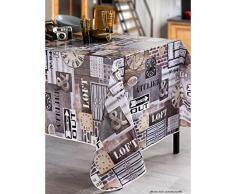 CALITEX Loft N ° 94PVC mantel de hule redondo, color gris 140x 140cm