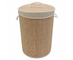 JVL Cesto Redondo de bambú para Ropa, Plegable, Gris, 35x 50cm, bambú, Blanco, 35 x 35 x 50 cm