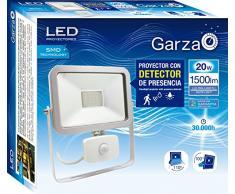 Garza Lighting Outdoor - Foco Proyector ISPOT LED de Exterior con Detector de Presencia, 90º Ángulo de Detección, 3 Reguladores, Potencia 20W, Luz Neutra 4000K, color Plata