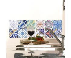 12 pegatinas adhesivos carrelages | adhesivo adhesivo azulejos – Mosaico Azulejos de pared de baño y cocina | azulejos adhesiva – Vintage MULTICOULEUR – 10 x 10 cm – 12 piezas