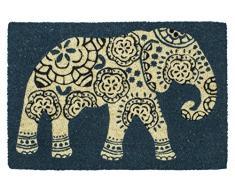 Elefante Entryways – Felpudo antideslizante Fibra de coco Felpudo, azul
