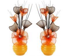 A juego Par de naranja flores artificiales en jarrón amarillo, decoraciones de mesa, accesorios para el hogar, regalos, adornos, altura 32 cm