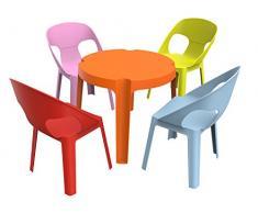 Resol Rita Set Infantil de 4 Sillas y 1 Mesa, Plástico y Polipropileno, 1 Mesa Naranja + 4 Sillas Roja/Rosa/Azul/Lima, 60x51x78 cm, 5 Unidades