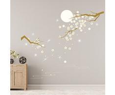 Walplus - Pegatinas de Pared con Cristales de Swarovski y Flores bajo la Luna murales para decoración del hogar, Sala de Estar, Restaurante, Hotel, café, Oficina, decoración