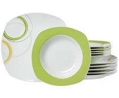 Ritzenhoff & Breker Tafelservice Emilia, 12-Teilig Vajilla, Porcelana, grün und Gelb, 32.00 x 28.00 x 32.00 cm, Unidades