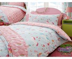 Juego de cama para niños Kidz Club, estampado de unicornios mágicos, funda de edredón doble y 2 fundas de almohada, color azul