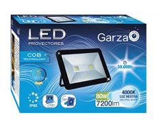Garza Lighting Outdoor - Foco Proyector LED Exterior IP65 COB , 80W , Luz Neutra 4000K , Negro