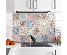 Ambiance-Live 24Pegatinas Adhesivos carrelages | Adhesivo Adhesivo Azulejos-Mosaico Azulejos de Pared de baño y Cocina | Azulejos Adhesiva-Mandala-10x 10cm-24Piezas