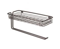 InterDesign Classico Porta rollo con almacenamiento | Ideal portarrollos de pared con especiero | Para papel de cocina y otros utensilios | Metal bronce