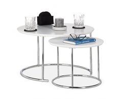 Relaxdays - Juego de 2 mesas de nido para café (tamaño pequeño, 60 x 60 cm, metal, 60 x 60 x 35 cm), color blanco