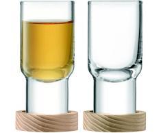 LSA 5012548538421 Utility Vodka Cristal y Fresno Posavasos Set, 60 ML, 2 Unidades, Transparente, 4,5 x 4,5 x 8,5 cm