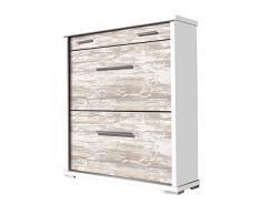 Pelayo Mobles 2219 B/V - Zapatero, madera, color blanco y vintage, 78x26x92.5 cm