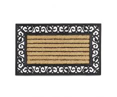 Relaxdays – Felpudo rectangular con rayas para la entrada del hogar, 2 x 75 x 45 cm, Fibra de coco y PVC, antideslizante, Color natural y negro