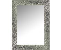 Lienzos Levante Espejo de Pared para Baño o Recibidor, Madera, Plata, 99 x 77 cm