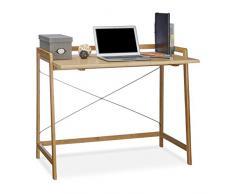Relaxdays – Escritorio de madera, mesa de ordenador moderna con crossbraces, para adolescentes, bambú, 80 x 98.5 x 59 cm), color marrón