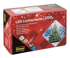 Idena Cadena de luces LED con temporizador, Blanco cálido y multicolor, 2500 x 2 x 2 cm