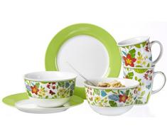 Ritzenhoff & Breker Brunch-Und Frühstücksset Tropicana, 6-Teilig, Porzellan Vajilla, Porcelana, Multicolor, 36.00 x 16.00 x 27.00 cm, 6 Unidades