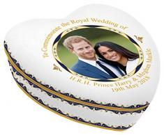 Royal Heritage H.r.h Harry y Megan Markle Conmemorativa de la Boda con Forma de corazón Joyero, Porcelana, Multicolor, 11,5x 12x 4,5cm