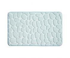 InterDesign Basic Tapete de baño, alfombra antideslizante de plástico para la bañera y la ducha, celeste