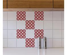 Plage Adhesivos para Azulejos y decoración de la Pared, Vinilo, Rojo, 15x15cm