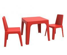 resol Julieta Set Infantil de 2 Sillas y 1 Mesa, Rojo, 60x51x78 cm