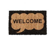 Relaxdays Kids Mini Felpudo fibra de coco con Welcome bocadillo tema como Welcome alfombrilla antideslizante ladrón parte inferior 1,5 x 40 x 25 cm), diseño de bienvenida