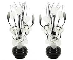Flourish Par de color blanco a juego, 723613 – Jarrón con flores de nailon artificiales, 32 cm, tamaño pequeño