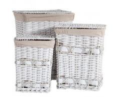 Cestos De La Ropa De Mimbre Lacado En Blanco Con Forro Set 3 Pzas