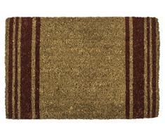 Entryways – Felpudo ladrillo rayas tejida a mano Felpudo fibra de coco, marrón