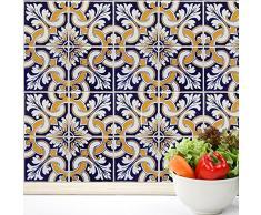 WALPLUS Talavera Azulejos extraíble Pegatinas de Pared, Adhesivo, Vinilo, 4Unidades