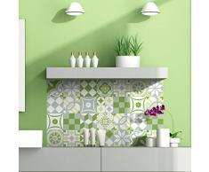 Ambiance-Live 24Pegatinas Adhesivos carrelages | Adhesivo Adhesivo Azulejos-Mosaico Azulejos de Pared de baño y Cocina | Azulejos Adhesiva-Patchwork Verde-10x 10cm-24Piezas