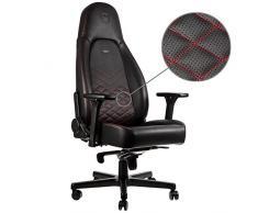 noblechairs Icon Silla de Gaming - Silla de Oficina - Silla de Escritorio - Reclinable a 135 ° - Cuero Sintético PU - 150 kg - Diseño de Asiento de Carreras - Negro/Rojo