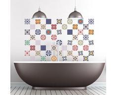 Ambiance-Live 60Pegatinas Adhesivos carrelages | Adhesivo Adhesivo Azulejos–Mosaico Azulejos de Pared de baño y Cocina | Azulejos Adhesiva–Vintage MULTICOULEUR–10x 10cm–60Piezas